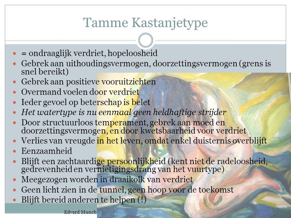 Tamme Kastanjetype = ondraaglijk verdriet, hopeloosheid Gebrek aan uithoudingsvermogen, doorzettingsvermogen (grens is snel bereikt) Gebrek aan positi