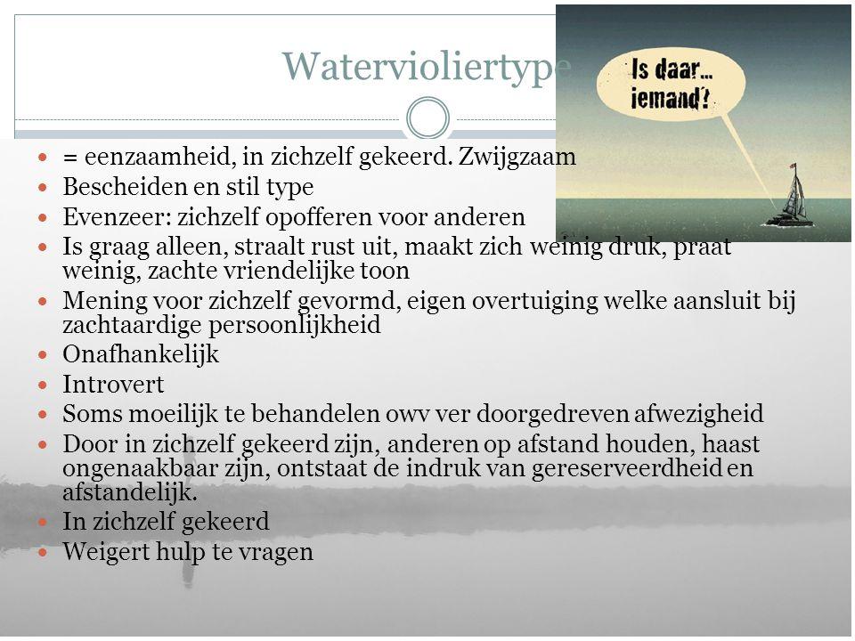 Watervioliertype = eenzaamheid, in zichzelf gekeerd. Zwijgzaam Bescheiden en stil type Evenzeer: zichzelf opofferen voor anderen Is graag alleen, stra