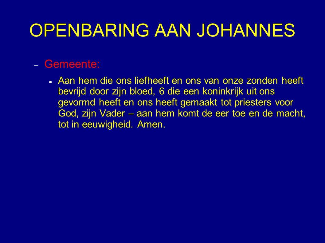 OPENBARING AAN JOHANNES  Gemeente: Aan hem die ons liefheeft en ons van onze zonden heeft bevrijd door zijn bloed, 6 die een koninkrijk uit ons gevor