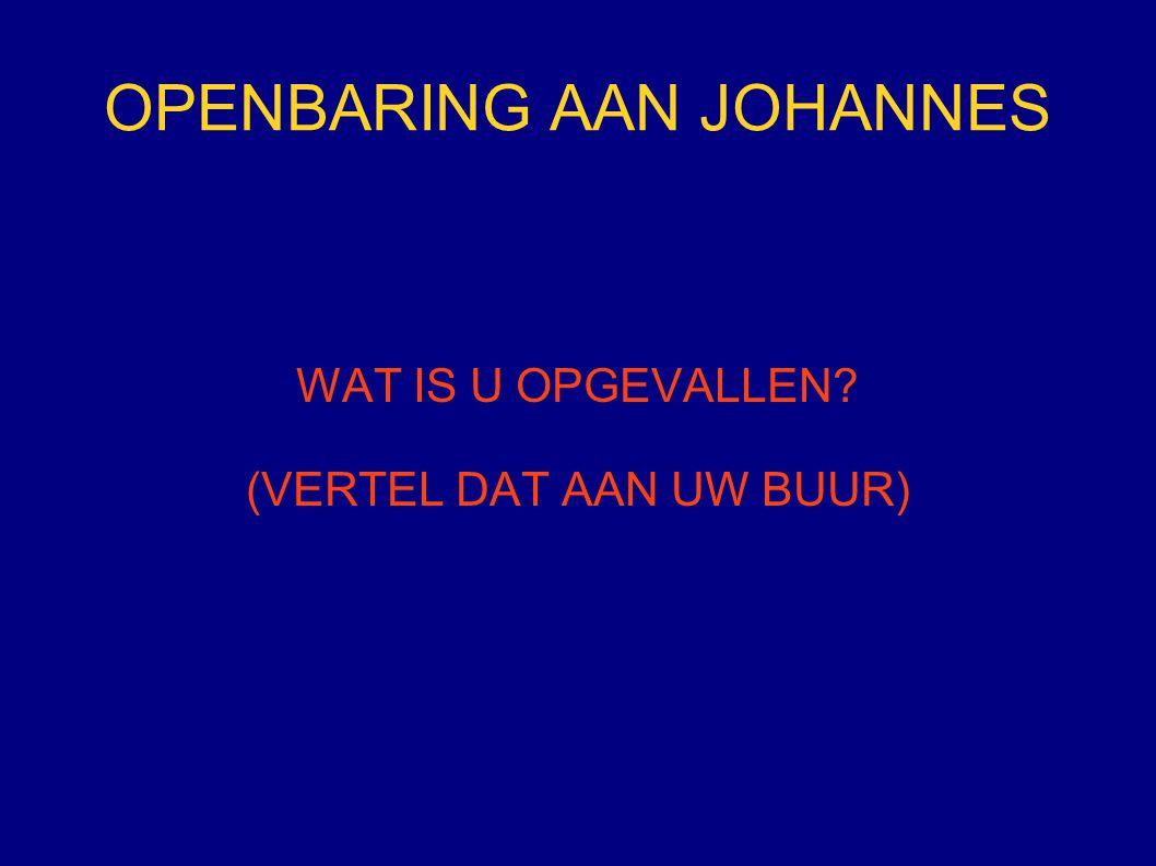 OPENBARING AAN JOHANNES WAT IS U OPGEVALLEN? (VERTEL DAT AAN UW BUUR)