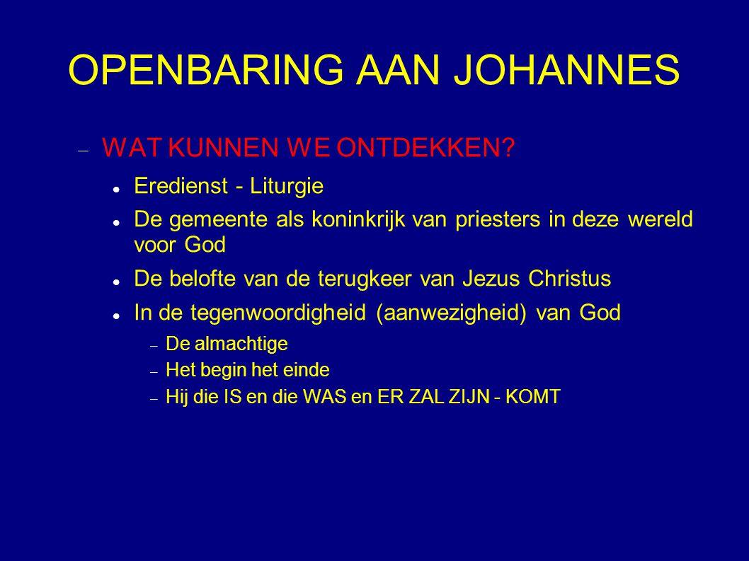 OPENBARING AAN JOHANNES  WAT KUNNEN WE ONTDEKKEN? Eredienst - Liturgie De gemeente als koninkrijk van priesters in deze wereld voor God De belofte va