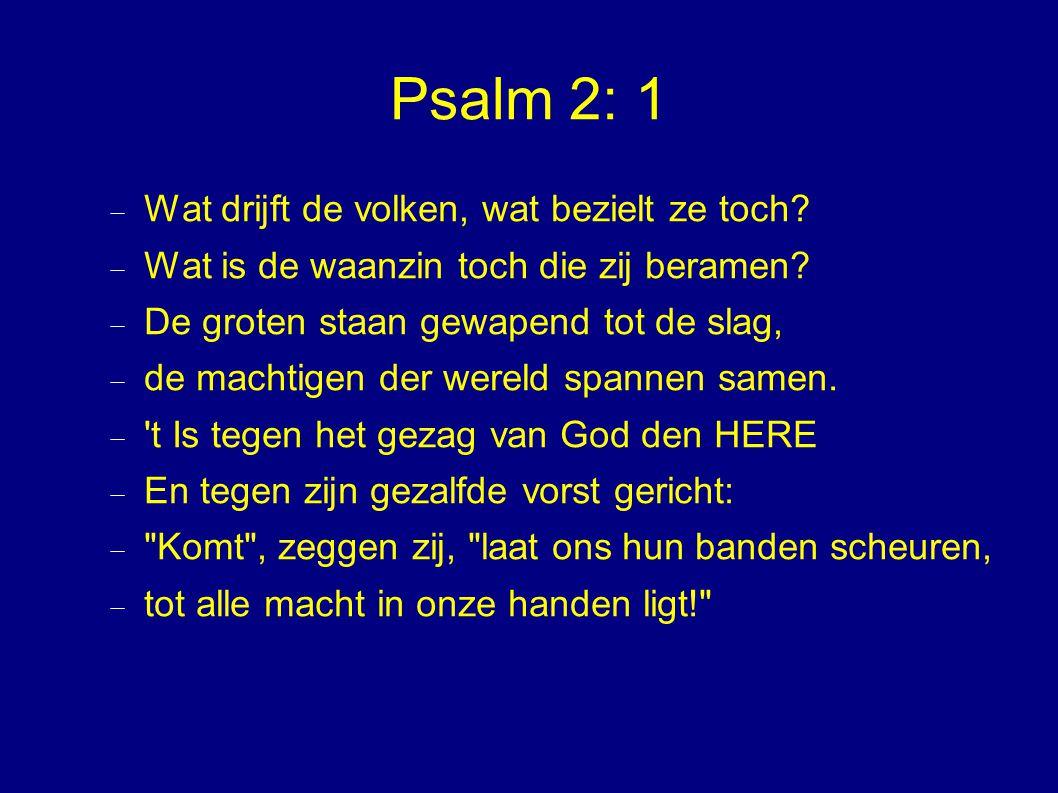 Psalm 2: 1  Wat drijft de volken, wat bezielt ze toch?  Wat is de waanzin toch die zij beramen?  De groten staan gewapend tot de slag,  de machtig