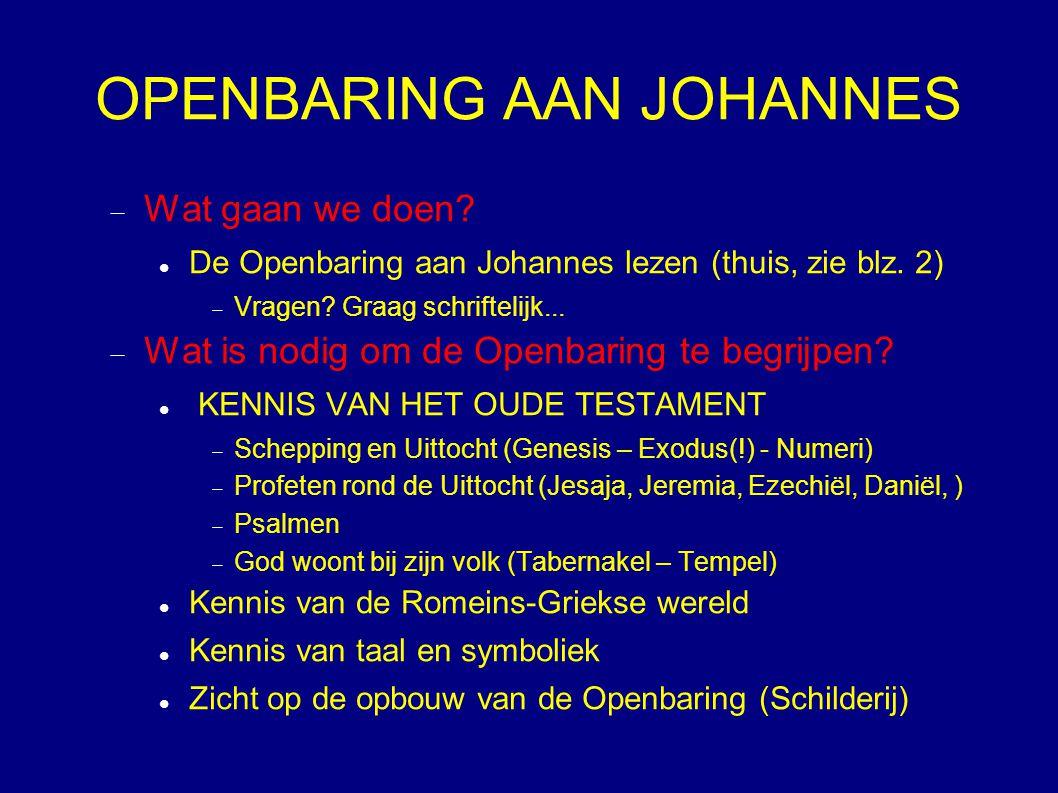 OPENBARING AAN JOHANNES  Wat gaan we doen? De Openbaring aan Johannes lezen (thuis, zie blz. 2)  Vragen? Graag schriftelijk...  Wat is nodig om de