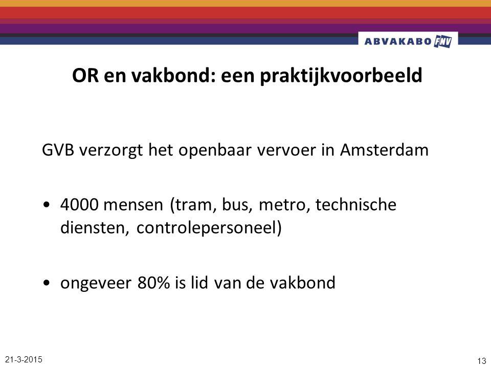 21-3-2015 13 OR en vakbond: een praktijkvoorbeeld GVB verzorgt het openbaar vervoer in Amsterdam 4000 mensen (tram, bus, metro, technische diensten, controlepersoneel) ongeveer 80% is lid van de vakbond