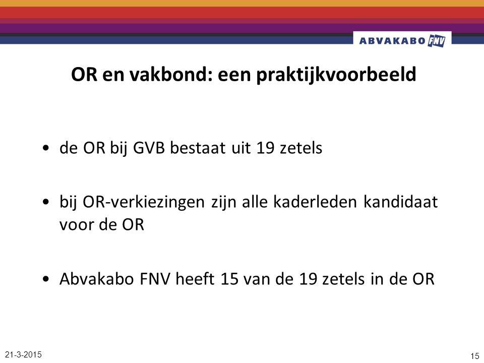 21-3-2015 15 OR en vakbond: een praktijkvoorbeeld de OR bij GVB bestaat uit 19 zetels bij OR-verkiezingen zijn alle kaderleden kandidaat voor de OR Abvakabo FNV heeft 15 van de 19 zetels in de OR