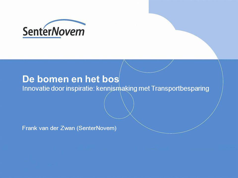 De bomen en het bos Innovatie door inspiratie: kennismaking met Transportbesparing Frank van der Zwan (SenterNovem)