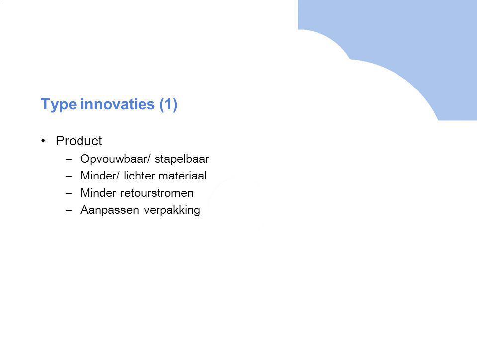 Type innovaties (1) Product –Opvouwbaar/ stapelbaar –Minder/ lichter materiaal –Minder retourstromen –Aanpassen verpakking