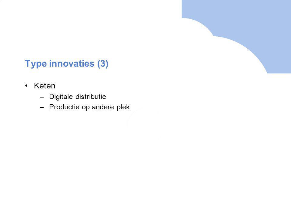 Type innovaties (3) Keten –Digitale distributie –Productie op andere plek