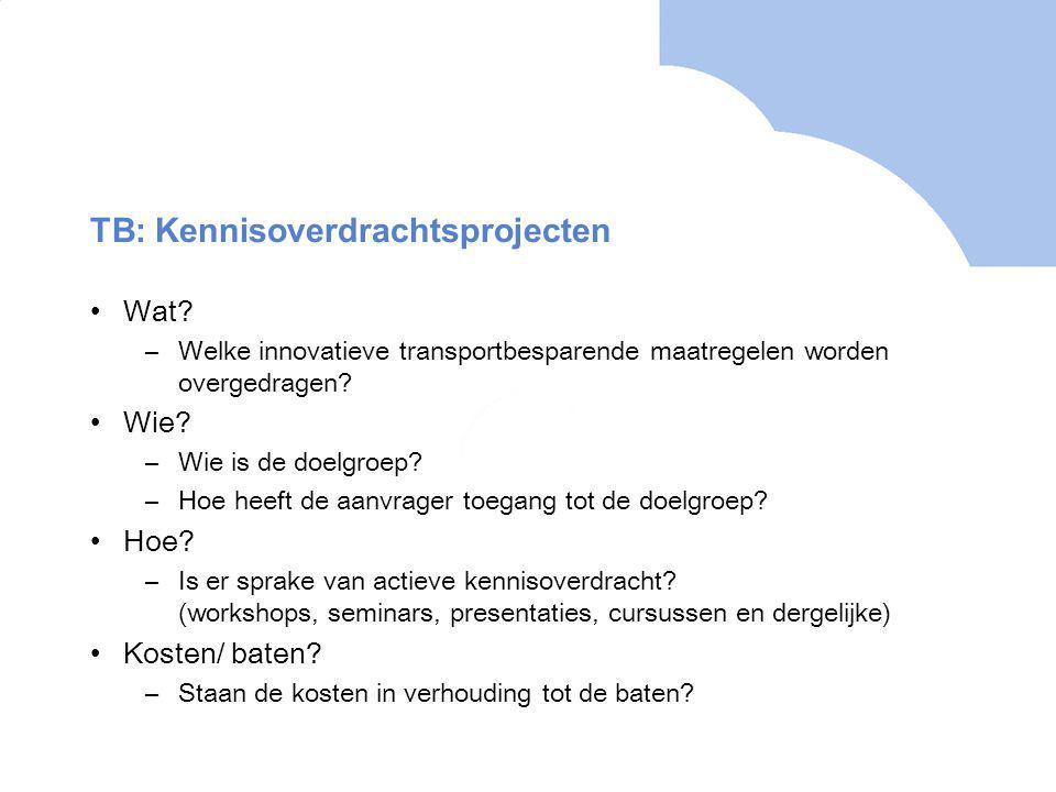 TB: Kennisoverdrachtsprojecten Wat.