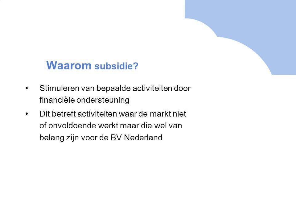 Stimuleren van bepaalde activiteiten door financiële ondersteuning Dit betreft activiteiten waar de markt niet of onvoldoende werkt maar die wel van belang zijn voor de BV Nederland