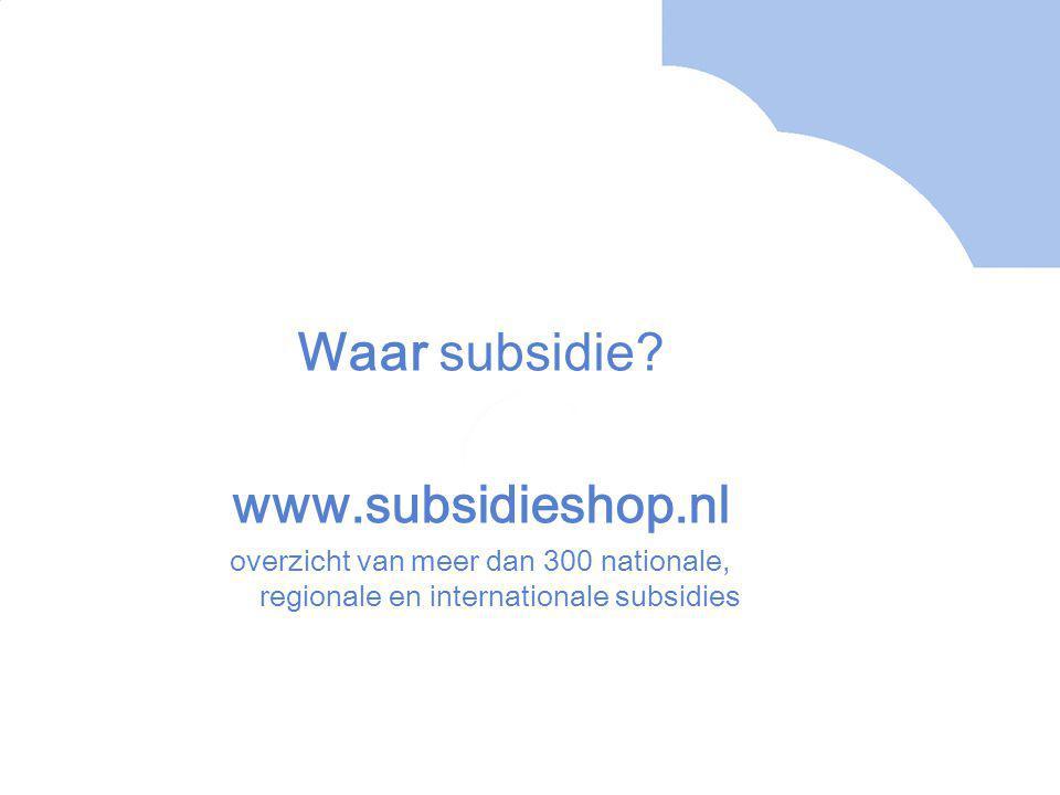 Wanneer krijg je subsidie?