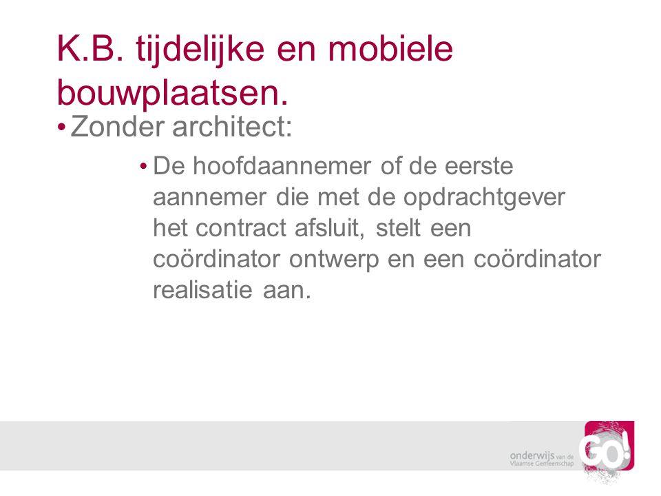 K.B. tijdelijke en mobiele bouwplaatsen. Zonder architect: De hoofdaannemer of de eerste aannemer die met de opdrachtgever het contract afsluit, stelt
