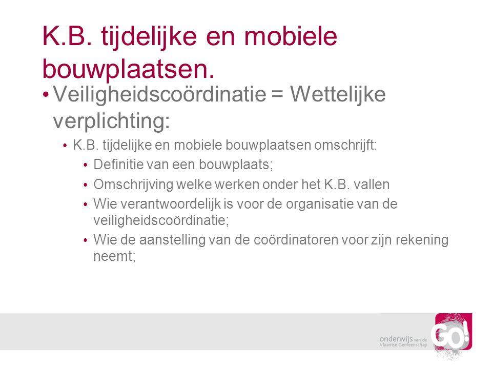 K.B. tijdelijke en mobiele bouwplaatsen. Veiligheidscoördinatie = Wettelijke verplichting: K.B. tijdelijke en mobiele bouwplaatsen omschrijft: Definit
