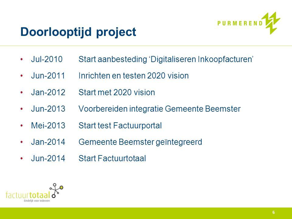 Jul-2010Start aanbesteding 'Digitaliseren Inkoopfacturen' Jun-2011Inrichten en testen 2020 vision Jan-2012Start met 2020 vision Jun-2013Voorbereiden i