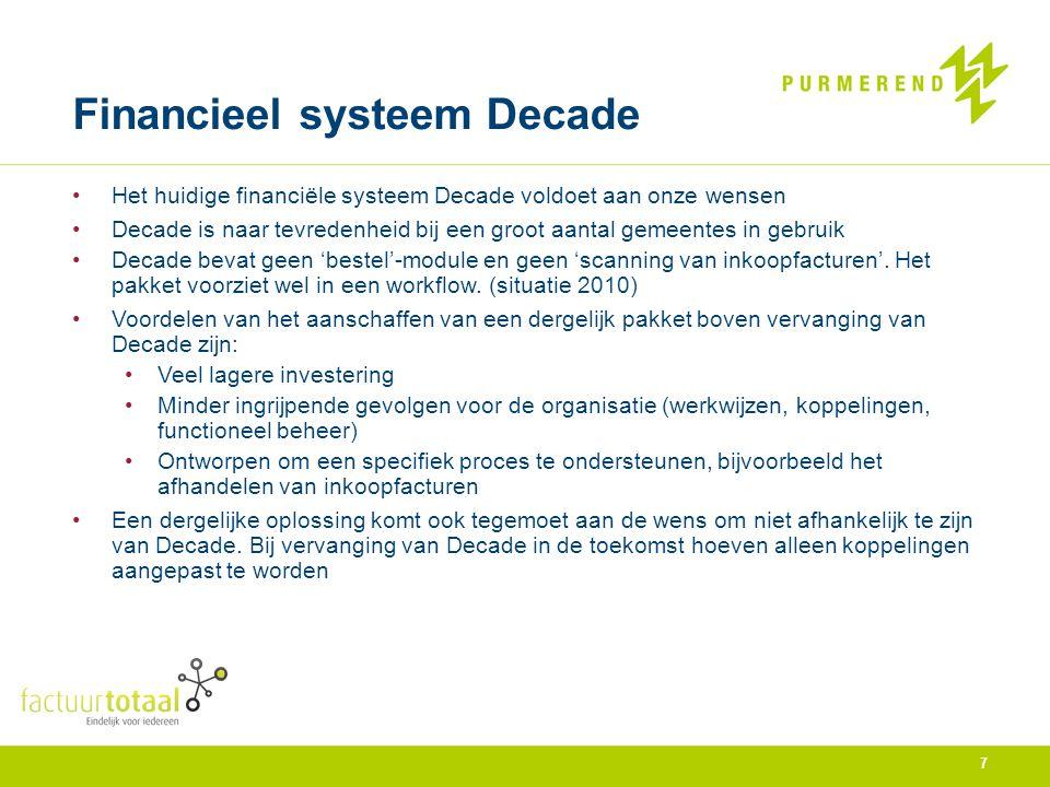 Financieel systeem Decade Het huidige financiële systeem Decade voldoet aan onze wensen Decade is naar tevredenheid bij een groot aantal gemeentes in
