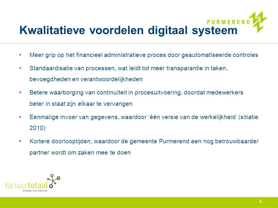 Kwalitatieve voordelen digitaal systeem Meer grip op het financieel administratieve proces door geautomatiseerde controles Standaardisatie van process