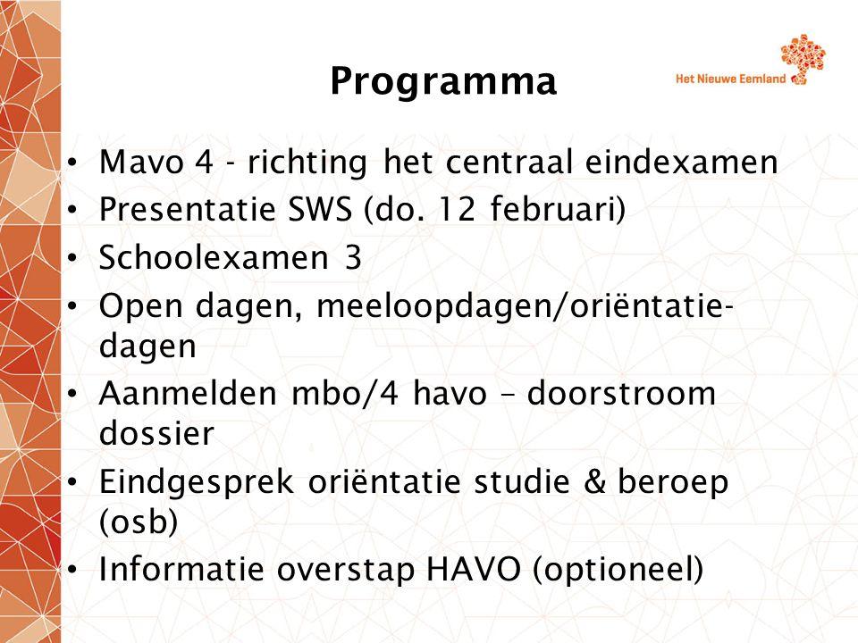 Overstap MAVO 4  HAVO 4 HAVO code Leidraad 6.8 gemiddeld Liefst 7 eindexamen vakken, GEEN vereiste Nieuwe vakken op de HAVO: muziek, tekenen, drama, NLT (Natuur Leven Techniek), M&O (Management en Organisatie), BSM (Bewegen Sport en Maatschappij) 1 profiel zonder wiskunde wel extra taal (c&m)