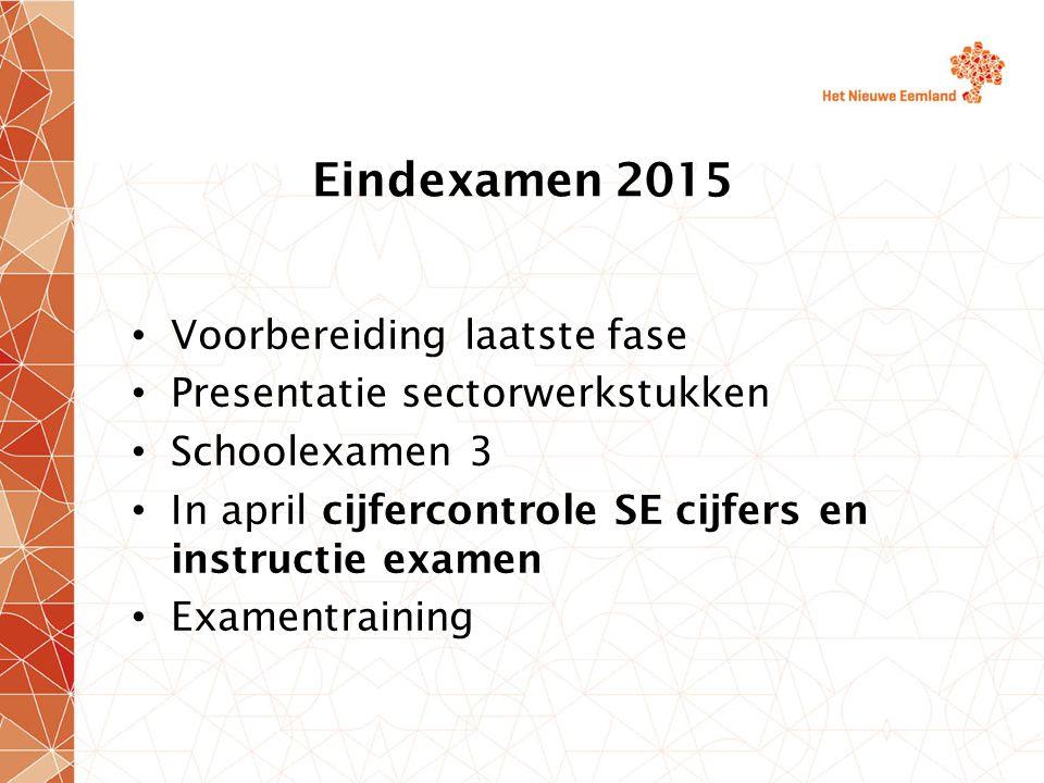 Eindexamen 2015 Slaag/zakregeling: het gemiddelde van de cijfers van het centraal schriftelijk eindexamen tenminste 5.5 dient te zijn.
