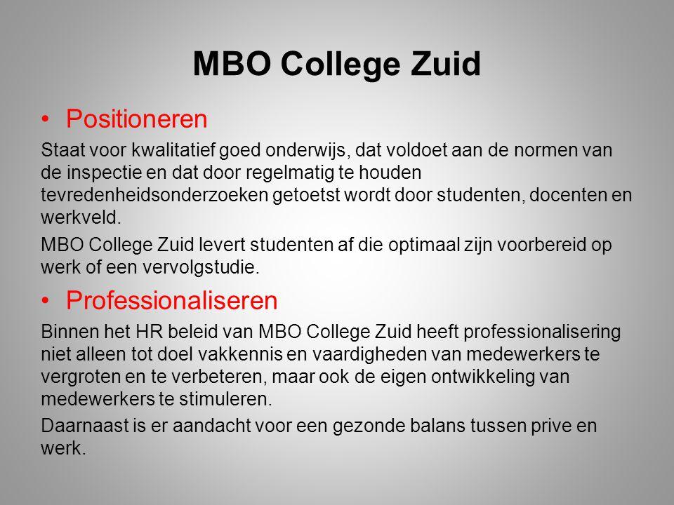 MBO College Zuid Positioneren Staat voor kwalitatief goed onderwijs, dat voldoet aan de normen van de inspectie en dat door regelmatig te houden tevre