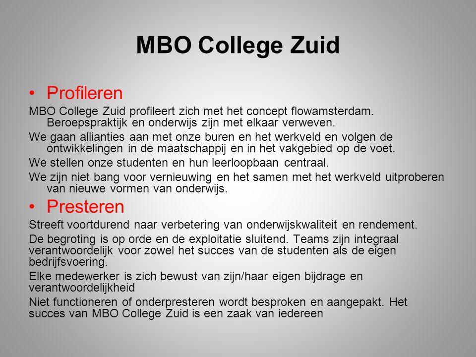 MBO College Zuid Profileren MBO College Zuid profileert zich met het concept flowamsterdam. Beroepspraktijk en onderwijs zijn met elkaar verweven. We