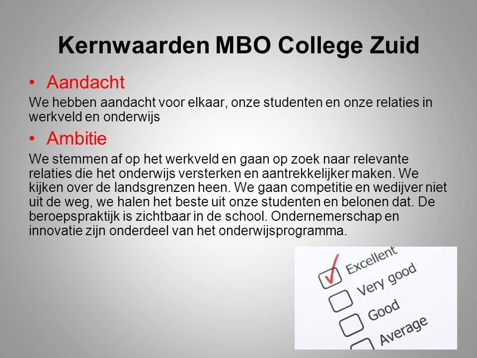 Kernwaarden MBO College Zuid Aandacht We hebben aandacht voor elkaar, onze studenten en onze relaties in werkveld en onderwijs Ambitie We stemmen af o