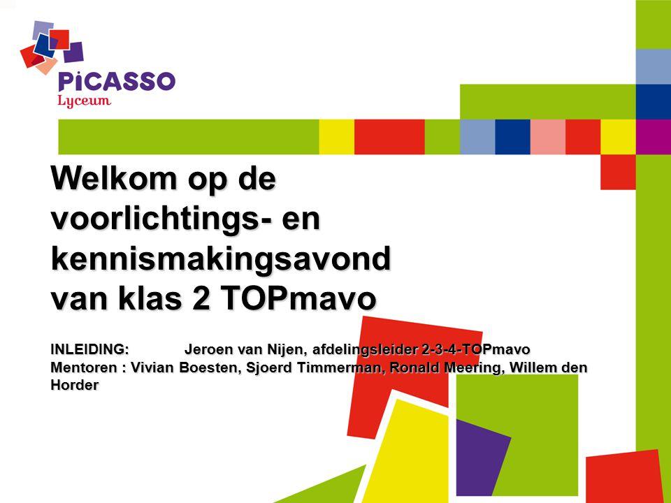 Welkom op de voorlichtings- en kennismakingsavond van klas 2 TOPmavo INLEIDING:Jeroen van Nijen, afdelingsleider 2-3-4-TOPmavo Mentoren : Vivian Boest