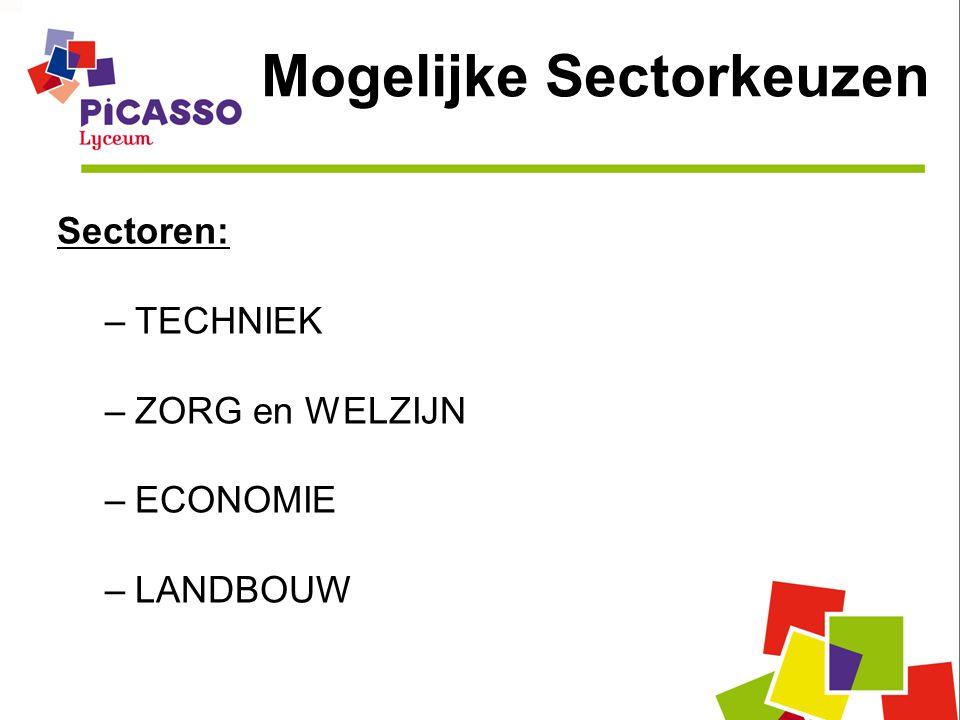 Mogelijke Sectorkeuzen Sectoren: –TECHNIEK –ZORG en WELZIJN –ECONOMIE –LANDBOUW