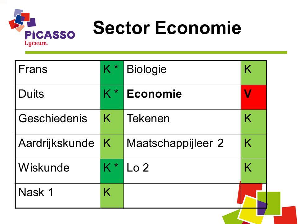 Sector Economie FransK *BiologieK DuitsK *EconomieV GeschiedenisKTekenenK AardrijkskundeKMaatschappijleer 2K WiskundeK *Lo 2K Nask 1K