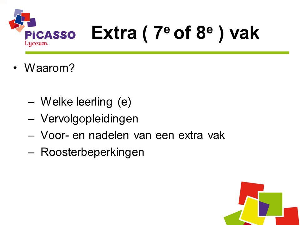 Extra ( 7 e of 8 e ) vak Waarom? – Welke leerling (e) – Vervolgopleidingen – Voor- en nadelen van een extra vak – Roosterbeperkingen