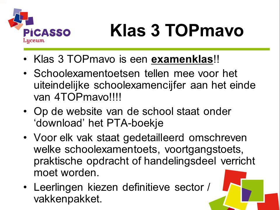 Klas 3 TOPmavo is een examenklas!! Schoolexamentoetsen tellen mee voor het uiteindelijke schoolexamencijfer aan het einde van 4TOPmavo!!!! Op de websi