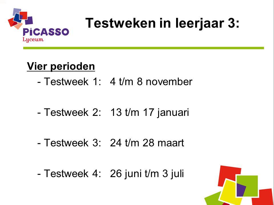 Testweken in leerjaar 3: Vier perioden - Testweek 1: 4 t/m 8 november - Testweek 2: 13 t/m 17 januari - Testweek 3: 24 t/m 28 maart - Testweek 4: 26 juni t/m 3 juli