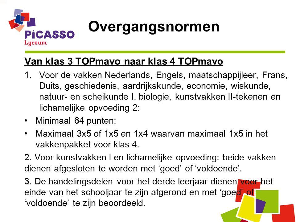 Van klas 3 TOPmavo naar klas 4 TOPmavo 1.Voor de vakken Nederlands, Engels, maatschappijleer, Frans, Duits, geschiedenis, aardrijkskunde, economie, wiskunde, natuur- en scheikunde I, biologie, kunstvakken II-tekenen en lichamelijke opvoeding 2: Minimaal 64 punten; Maximaal 3x5 of 1x5 en 1x4 waarvan maximaal 1x5 in het vakkenpakket voor klas 4.