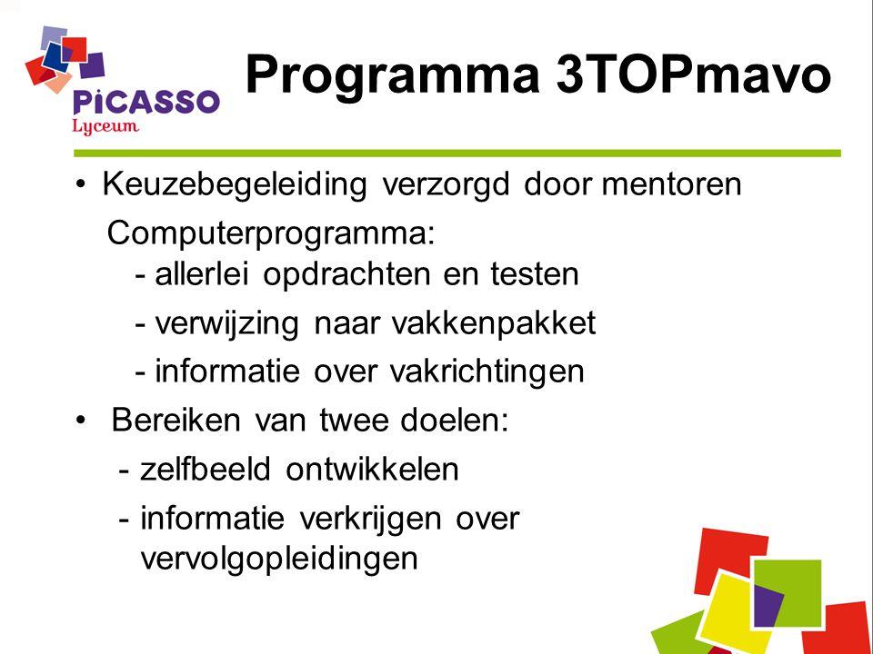 Programma 3TOPmavo Keuzebegeleiding verzorgd door mentoren Computerprogramma: - allerlei opdrachten en testen - verwijzing naar vakkenpakket - informatie over vakrichtingen Bereiken van twee doelen: -zelfbeeld ontwikkelen -informatie verkrijgen over vervolgopleidingen