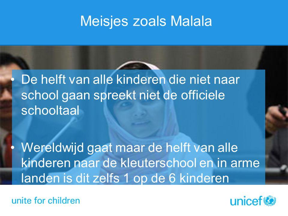 Meisjes zoals Malala De helft van alle kinderen die niet naar school gaan spreekt niet de officiele schooltaal Wereldwijd gaat maar de helft van alle