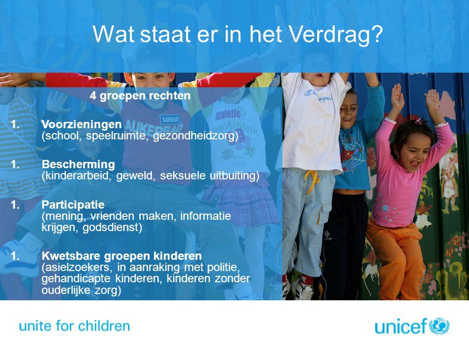 4 groepen rechten 1. Voorzieningen (school, speelruimte, gezondheidzorg) 1. Bescherming (kinderarbeid, geweld, seksuele uitbuiting) 1. Participatie (m