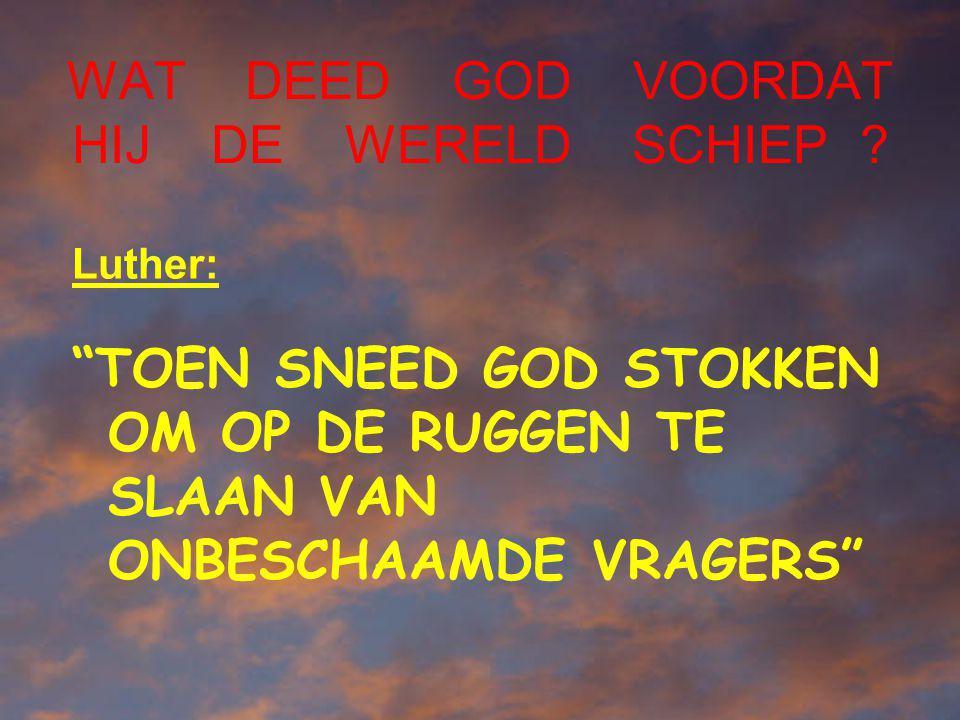 """WAT DEED GOD VOORDAT HIJ DE WERELD SCHIEP ? Luther: """"TOEN SNEED GOD STOKKEN OM OP DE RUGGEN TE SLAAN VAN ONBESCHAAMDE VRAGERS"""""""