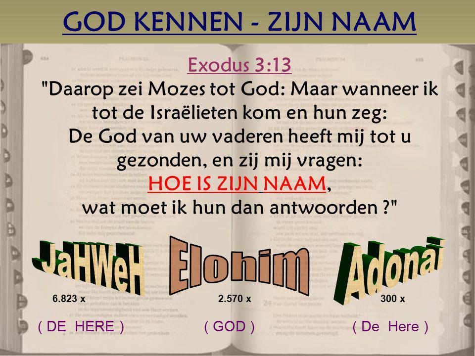 GOD KENNEN - ZIJN NAAM Exodus 3:13