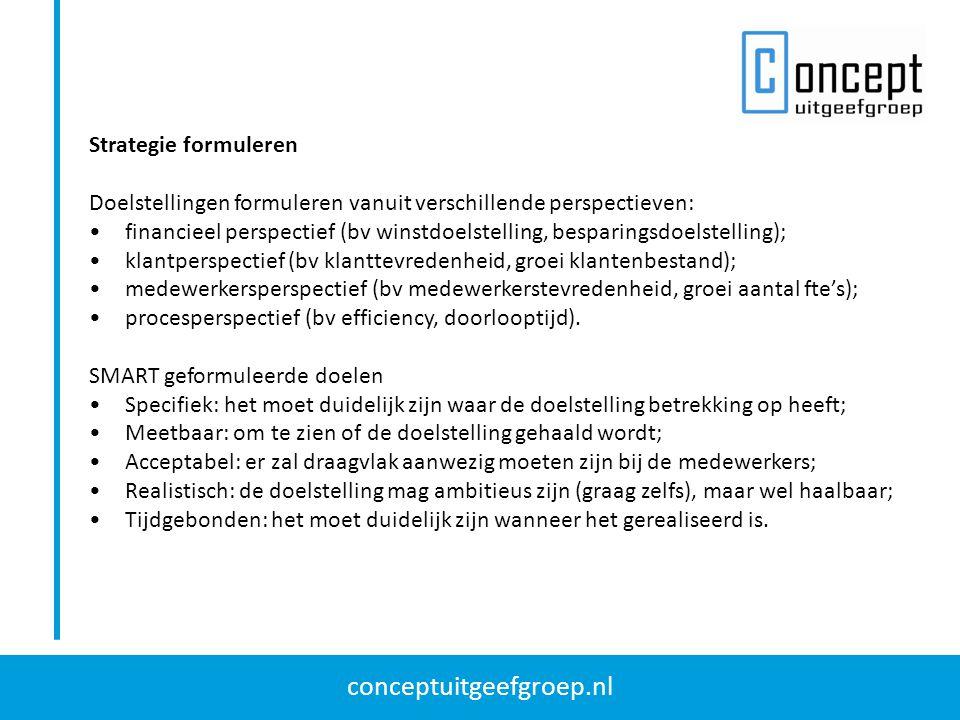 conceptuitgeefgroep.nl Strategie formuleren Doelstellingen formuleren vanuit verschillende perspectieven: financieel perspectief (bv winstdoelstelling, besparingsdoelstelling); klantperspectief (bv klanttevredenheid, groei klantenbestand); medewerkersperspectief (bv medewerkerstevredenheid, groei aantal fte's); procesperspectief (bv efficiency, doorlooptijd).