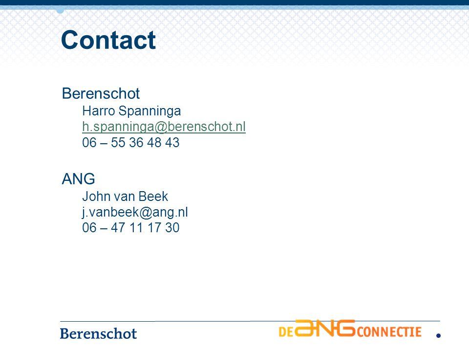 Berenschot Harro Spanninga h.spanninga@berenschot.nl 06 – 55 36 48 43 ANG John van Beek j.vanbeek@ang.nl 06 – 47 11 17 30 Contact