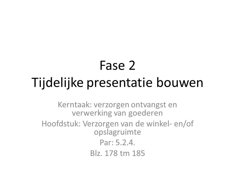 Fase 2 Tijdelijke presentatie bouwen Kerntaak: verzorgen ontvangst en verwerking van goederen Hoofdstuk: Verzorgen van de winkel- en/of opslagruimte Par: 5.2.4.