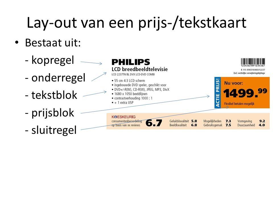 Lay-out van een prijs-/tekstkaart Bestaat uit: - kopregel - onderregel - tekstblok - prijsblok - sluitregel