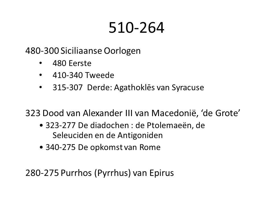 480-300 Siciliaanse Oorlogen 480 Eerste 410-340 Tweede 315-307 Derde: Agathoklēs van Syracuse 323 Dood van Alexander III van Macedonië, 'de Grote' 323-277 De diadochen : de Ptolemaeën, de Seleuciden en de Antigoniden 340-275 De opkomst van Rome 280-275 Purrhos (Pyrrhus) van Epirus 510-264