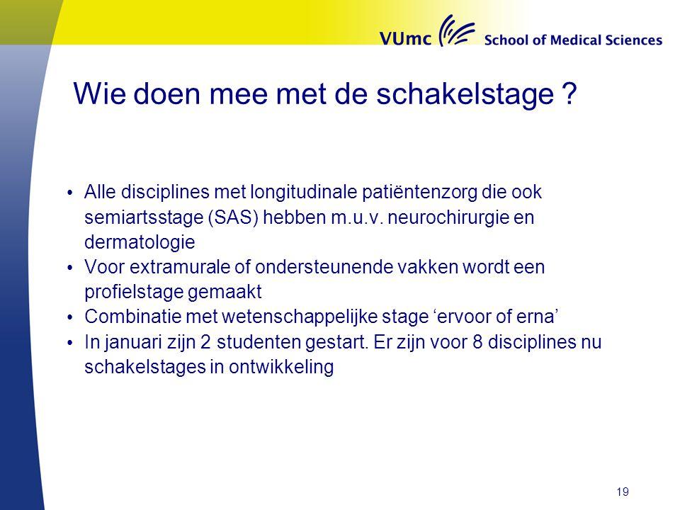 Wie doen mee met de schakelstage ? Alle disciplines met longitudinale patiëntenzorg die ook semiartsstage (SAS) hebben m.u.v. neurochirurgie en dermat