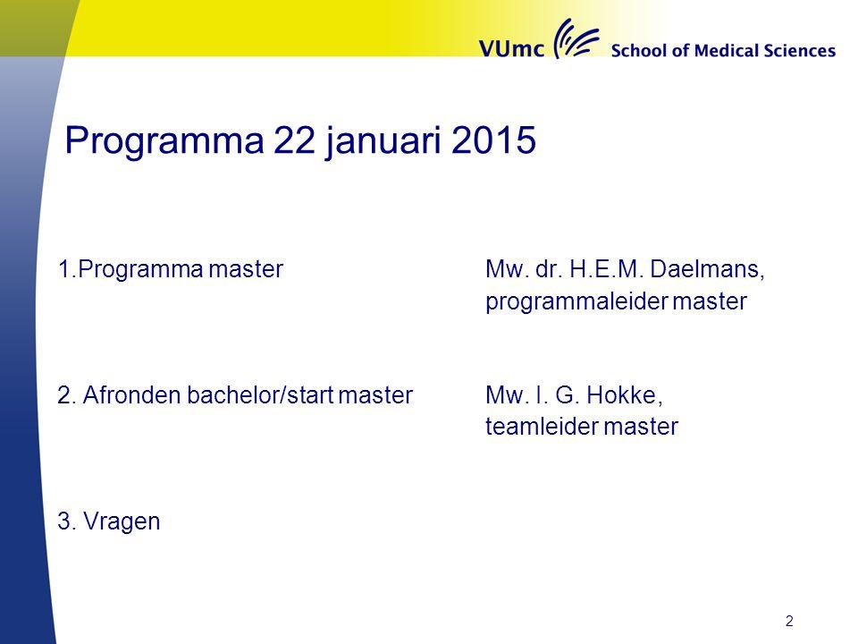 Programma 22 januari 2015 1.Programma master Mw. dr. H.E.M. Daelmans, programmaleider master 2. Afronden bachelor/start masterMw. I. G. Hokke, teamlei