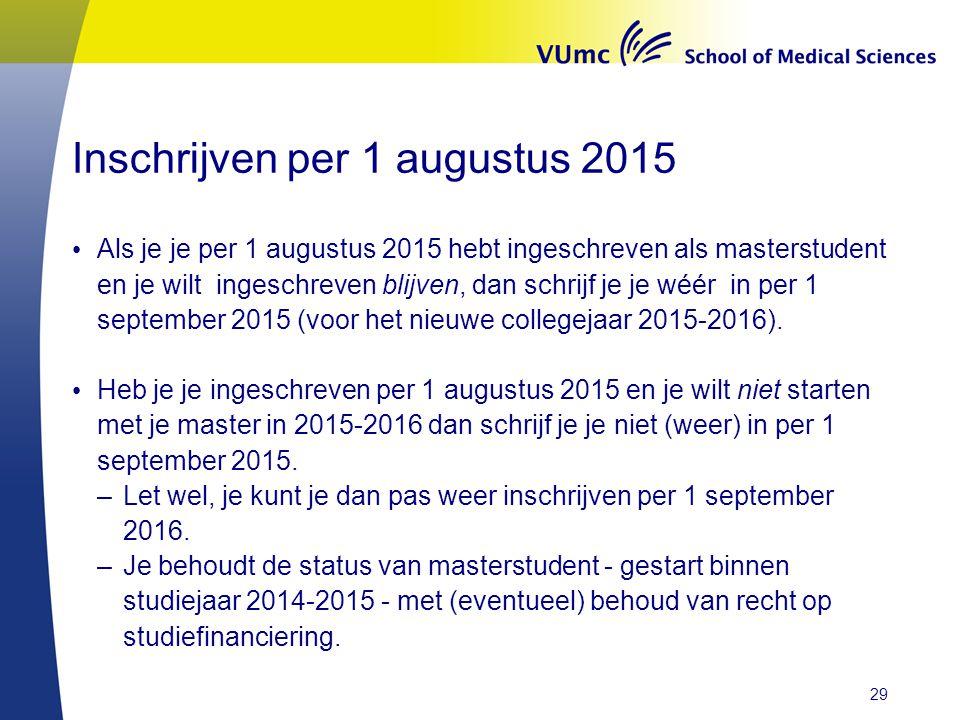 Inschrijven per 1 augustus 2015 Als je je per 1 augustus 2015 hebt ingeschreven als masterstudent en je wilt ingeschreven blijven, dan schrijf je je wéér in per 1 september 2015 (voor het nieuwe collegejaar 2015-2016).