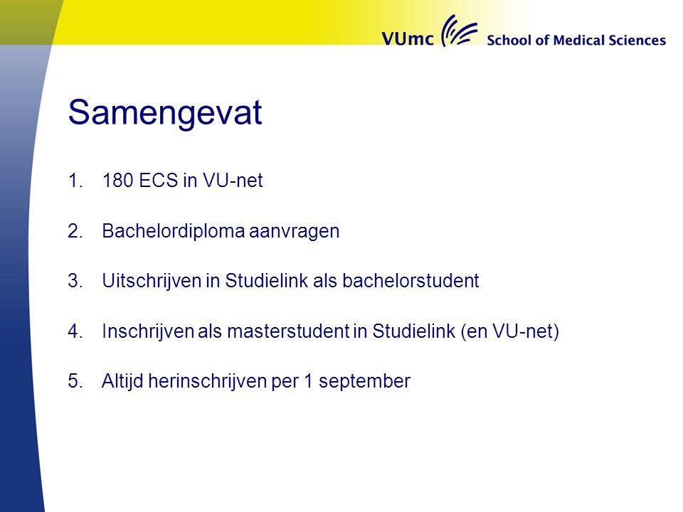 Samengevat 1.180 ECS in VU-net 2.Bachelordiploma aanvragen 3.Uitschrijven in Studielink als bachelorstudent 4.Inschrijven als masterstudent in Studielink (en VU-net) 5.Altijd herinschrijven per 1 september