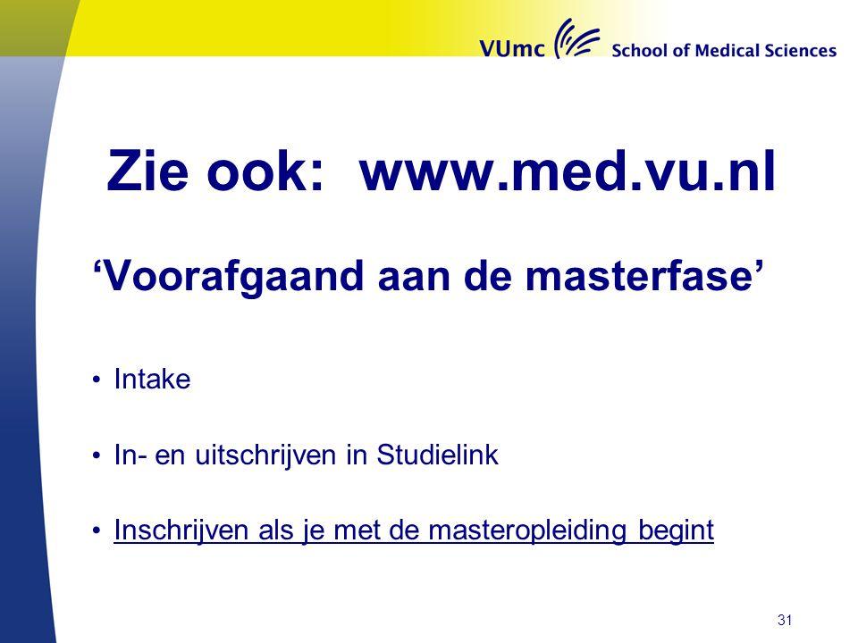 Zie ook: www.med.vu.nl 'Voorafgaand aan de masterfase' Intake In- en uitschrijven in Studielink Inschrijven als je met de masteropleiding begint 31