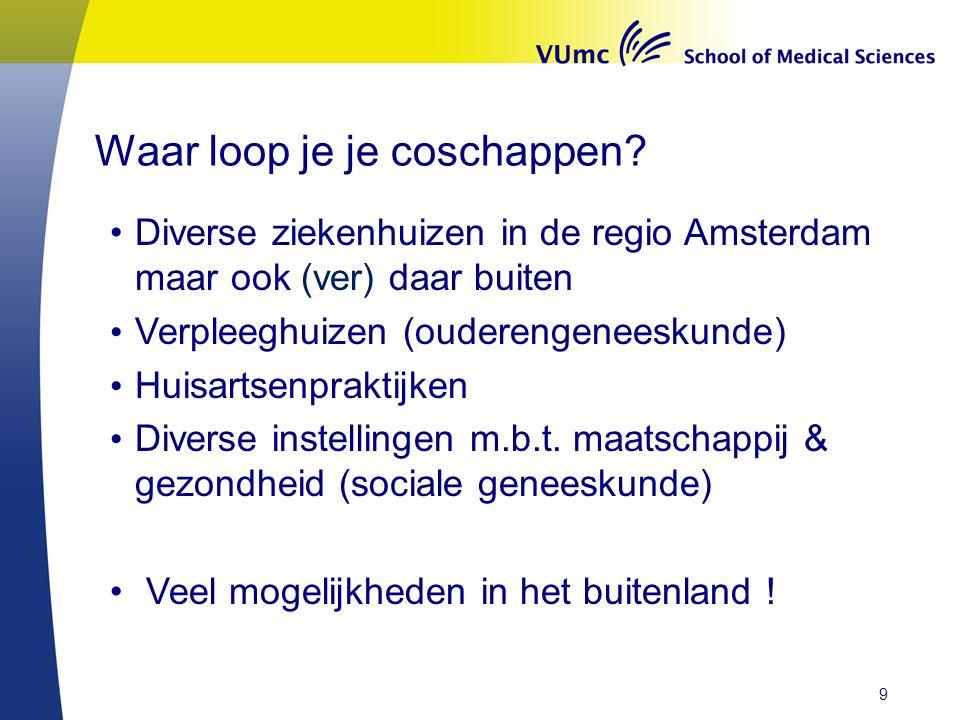 Waar loop je je coschappen? Diverse ziekenhuizen in de regio Amsterdam maar ook (ver) daar buiten Verpleeghuizen (ouderengeneeskunde) Huisartsenprakti