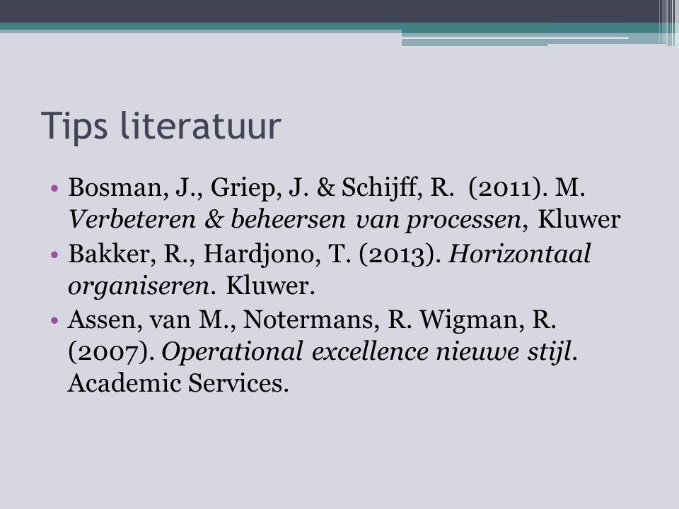 Tips literatuur Bosman, J., Griep, J. & Schijff, R. (2011). M. Verbeteren & beheersen van processen, Kluwer Bakker, R., Hardjono, T. (2013). Horizonta