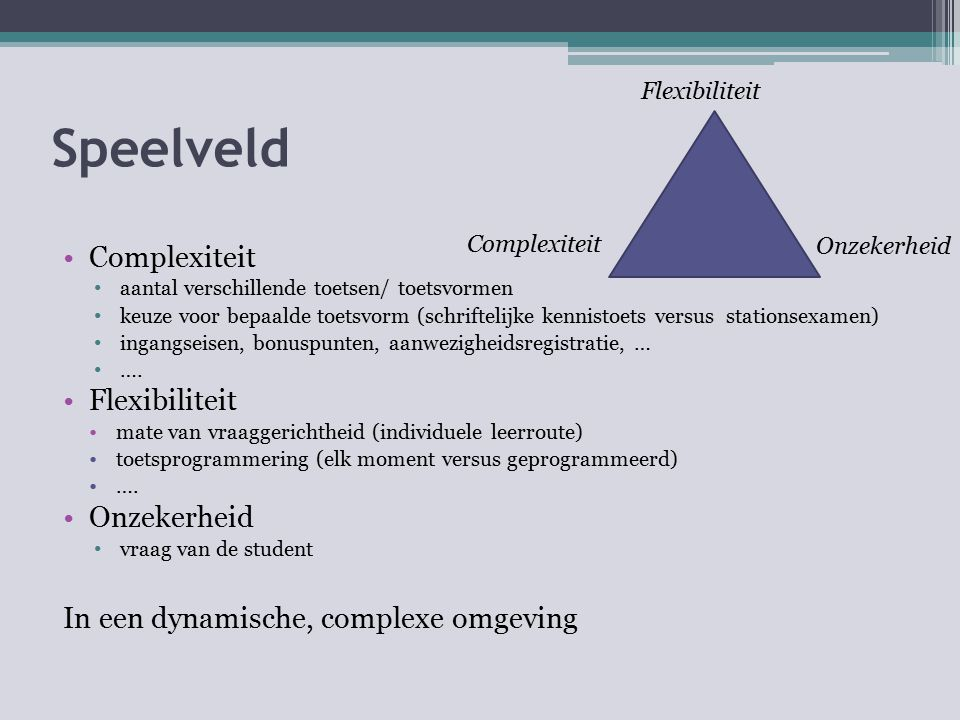 Speelveld Complexiteit aantal verschillende toetsen/ toetsvormen keuze voor bepaalde toetsvorm (schriftelijke kennistoets versus stationsexamen) ingan